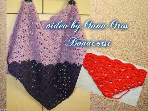 crochet triangular shawl with shell stitch