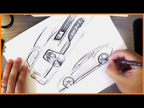 Industrial Design Sketching - BiC Pen Cars