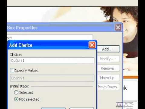 Microsoft Office FrontPage 2003 Add a dropdown box or menu to a form