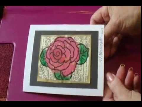 DIY HANDMADE CARDS, PAINTED ROSE - cardmaking -DIY learn how to make a handmade painted rose card