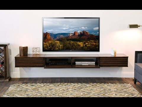 Woodwaves Wall Mount Entertainment Center Floating TV Stand - Lotus Russet Brown - 3 Piece