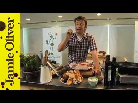 Jamie Oliver cooks steak with wild mushrooms at Google