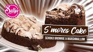Download S`mores Cake- saftiger Brownieboden mit Marshmallow Baiserhaube Video