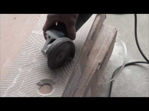 How to cut a hole in tile with an angle grinder.