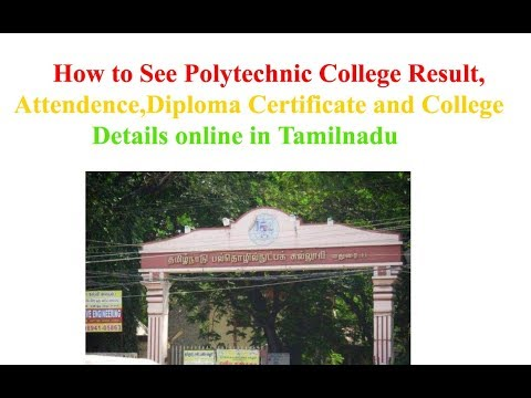 Polytechnic College Result,Attendence,Diploma Certificate and College Details online in Tamilnadu