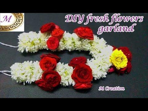 fresh flower garland making how to make fresh flower garland