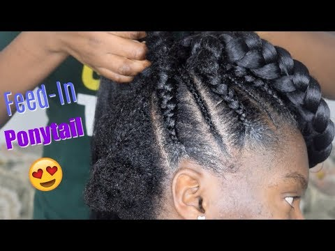 HOW TO FEED IN PONYTAIL BRAIDS On Thick 4C Natural Hair