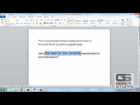 Create Dedicated Shortcut Keys for Microsoft Word to Perform a Particular Task