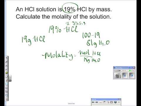 percent mass to molality