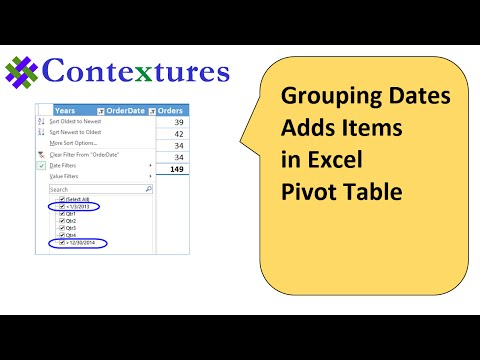 Grouping Dates in Excel Pivot Table Show Extra Items