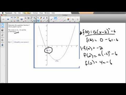 Finding a Quadratic Function With a Particular Vertex and Y-Intercept