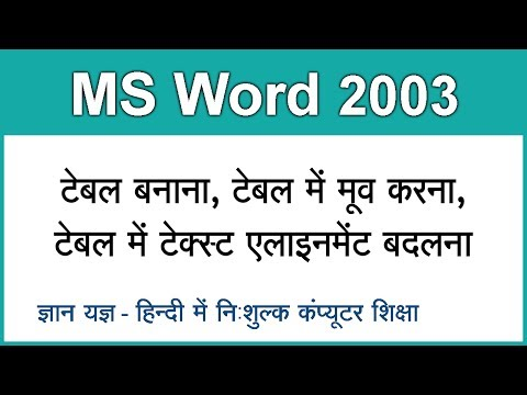 MS Word 2003 in Hindi ( Create Table, Text Alignment in Table ) Part 8