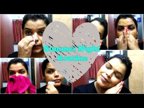 SUMMER NIGHT SKIN CARE ROUTINE FOR OILY SKIN & DRY SKIN  EASY ROUTINE FOR GLOWING SKIN in HINDI