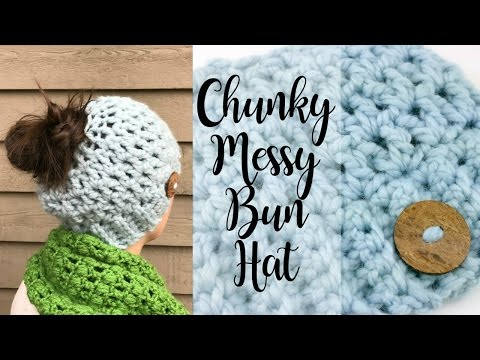 How To Crochet A Chunky Messy Bun Hat, Episode 368