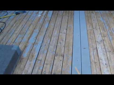 Make latex paint or stain stick to a wooden deck