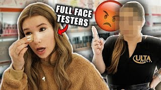 FULL FACE Using ULTA TESTERS Makeup! omg...