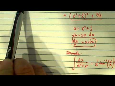 *How to find integral (antiderivative) of  x/(x^4 + x^2 + 1) to get arctangent?