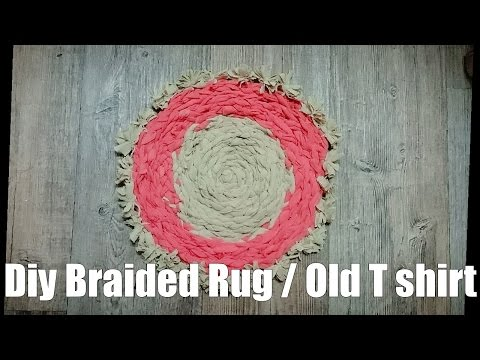 Diy Braided Rug from Old T shirt_No Sew/ Hot to make T Shirt Yarn