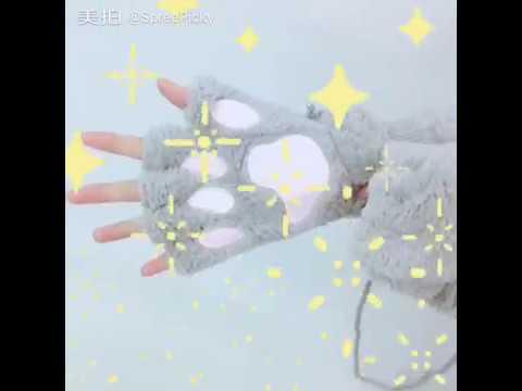5 Color Kawaii Cat Paw Plush Glove SP167636
