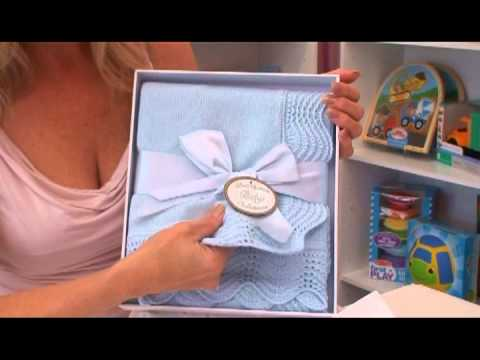 Boxed Baby Blue Christening Blanket for Boys