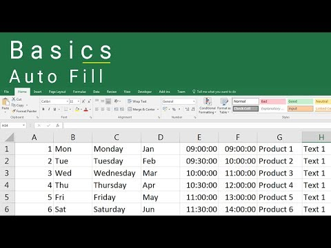 Excel 2016 Auto Fill