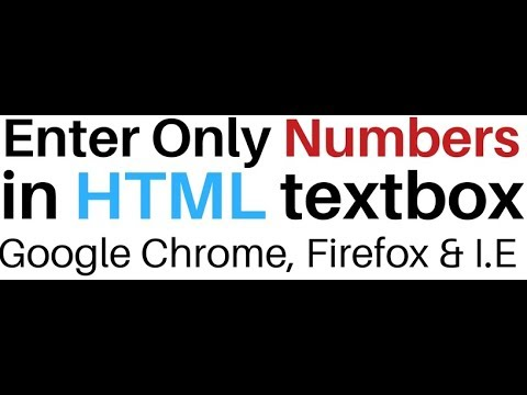 HTML Textbox Input Type Allow Only Numeric