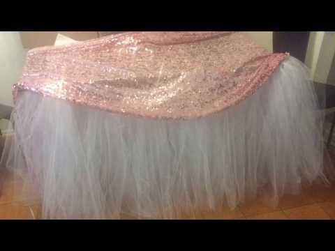 DIY fluffy  no sew tutu table skirt