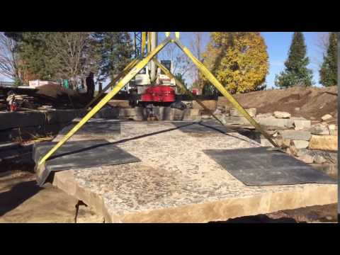 Huge armour stone slab install. Huge pond bringing in crane. Maxed out