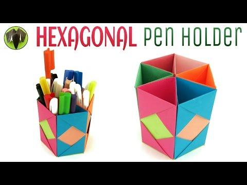 Hexagonal Pen   Pencil Holder - DIY   Handmade - Tutorial by Paper Folds ❤️