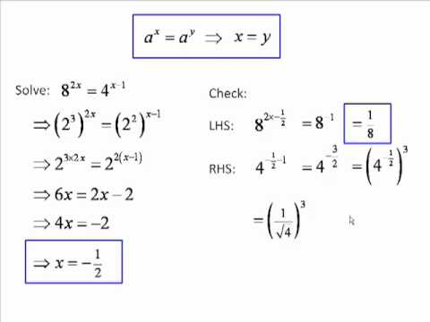 Indices (exponents, powers) 6 - Simple Exponential Equations