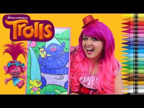 Coloring Trolls Smidge & Biggie GIANT Coloring Book Page Crayola Crayons | KiMMi THE CLOWN
