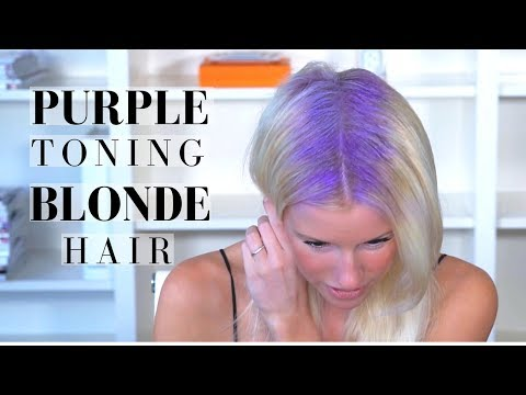 PURPLE TONING TREATMENT on BLONDE HAIR +  BRIGHTENING Shampoo Routine | Mikaela South