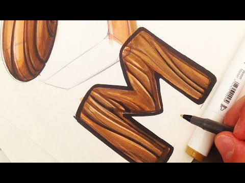 Industrial Design Sketching - Wood Texture with Markers