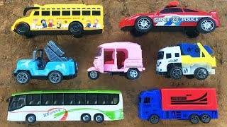 Reviewing Different Type of Transportation Vehicles | Indian Auto Rickshaw, Police Car, School Bus
