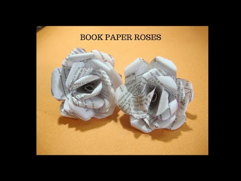 Recycled Book paper Rose Paper Craft. craft ideas for kids.