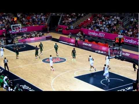 Nigeria vs France Mens Olympic Basketball London 2012, Nigeria 3 point shot drained