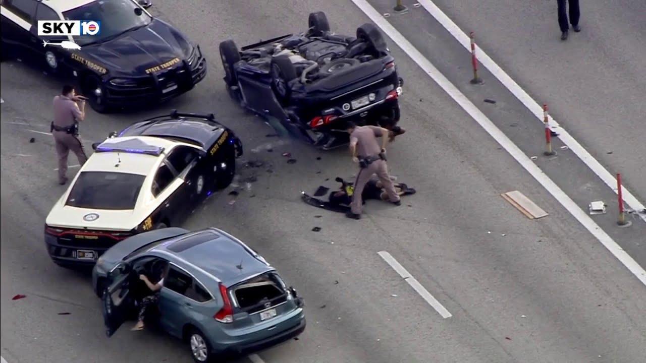 Car crashes during chase on I-95