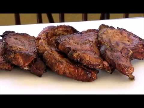 Inspired Jamaican jerk pork chops on  the 22 inch  Weber kettle Grill pork chops Large