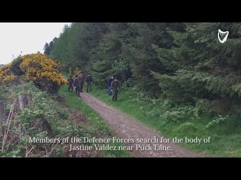 VIDEO: Members of the Defence Forces search for the body of Jastine Valdez near Puck Lane.
