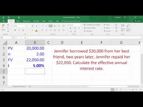 Compound Interest   Calculating effective interest rate using Excel