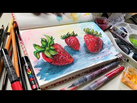 Mixed Media: Strawberries & Aggravation (Sketchbook Sunday)