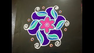 Simple Daily Rangoli Design With Colours And Dots 12x2x2 For