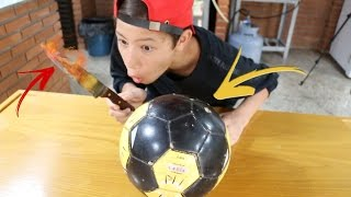 FACA QUENTE VS BOLA DE FUTEBOL!!! (Glowing Knife VS Soccer Ball)