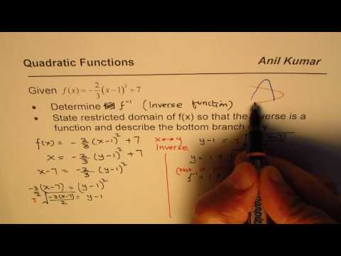 How to Find Inverse of Quadratic Function with Fractions and Bottom Half