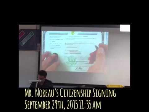 Mr. Noreau's Citizenship Signing