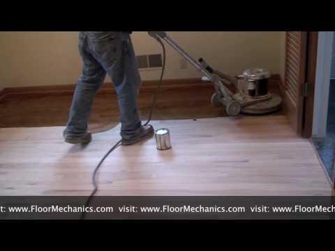 Refinishing hardwood floors: Applying Stain with Buffer