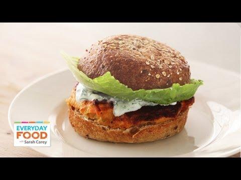 Salmon Burger with Yogurt-Dill Sauce - Everyday Food with Sarah Carey