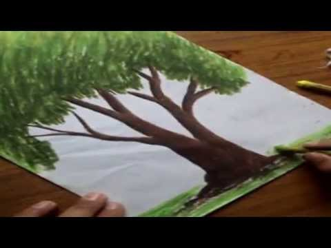 How to Draw Trees with Oil Pastel Color