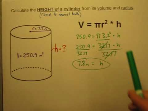 Calculate the Height of a Cylinder When Given Its Volume and Radius