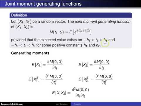 Bivariate distributions; moment generating functions